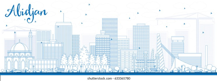 Outline Abidjan Skyline with Blue Buildings. Vector Illustration. Business Travel and Tourism Concept with Modern Architecture. Image for Presentation Banner Placard and Web Site.