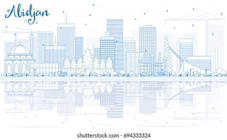 Outline Abidjan Skyline with Blue Buildings and Reflections. Vector Illustration. Business Travel and Tourism Concept with Modern Architecture. Image for Presentation Banner Placard and Web Site.
