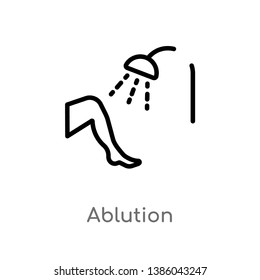 outline ablution vector icon. isolated black simple line element illustration from hygiene concept. editable vector stroke ablution icon on white background