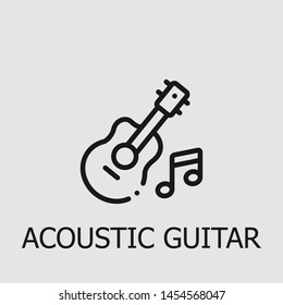 Outline acoustic guitar vector icon. Acoustic guitar illustration for web, mobile apps, design. Acoustic guitar vector symbol.