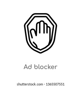outline ad blocker vector icon. isolated black simple line element illustration from marketing concept. editable vector stroke ad blocker icon on white background