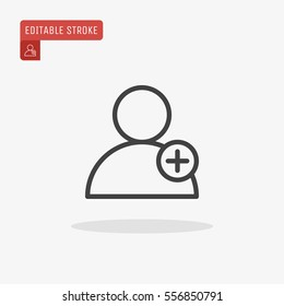 Outline Add new user account icon isolated on grey background. Add new friend to contacts line symbol for website design, mobile application, ui. Editable stroke. Vector illustration, EPS10.