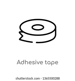 outline adhesive tape vector icon. isolated black simple line element illustration from miscellaneous concept. editable vector stroke adhesive tape icon on white background