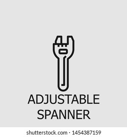 Outline adjustable spanner vector icon. Adjustable spanner illustration for web, mobile apps, design. Adjustable spanner vector symbol.