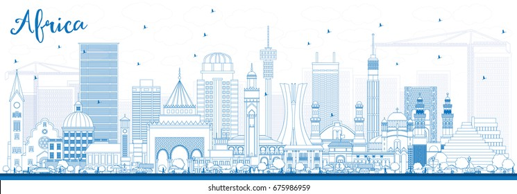 Outline Africa Skyline with Famous Landmarks. Vector Illustration. Business Travel and Tourism Concept. Image for Presentation, Banner, Placard and Web Site.