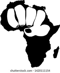 Outline of the African continent with a clenched hand to resemble a fist. Vector illustration.