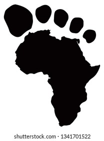 Outline of the African continent with toes to resemble a footprint. Vector illustration.