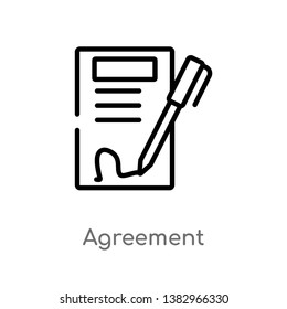 outline agreement vector icon. isolated black simple line element illustration from ethics concept. editable vector stroke agreement icon on white background