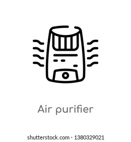 outline air purifier vector icon. isolated black simple line element illustration from electronic devices concept. editable vector stroke air purifier icon on white background