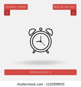 Outline Alarm Clock vector icon. Modern, simple, isolated, flat best quality icon for web site designs or mobile apps. Vector illustration EPS 10.
