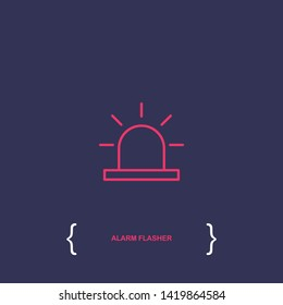 Outline alarm flasher icon. alarm flasher   vector illustration. symbol for web and mobile