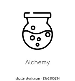 outline alchemy vector icon. isolated black simple line element illustration from miscellaneous concept. editable vector stroke alchemy icon on white background