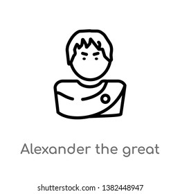 outline alexander the great vector icon. isolated black simple line element illustration from greece concept. editable vector stroke alexander the great icon on white background
