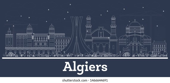 Outline Algiers Algeria City Skyline with White Buildings. Vector Illustration. Business Travel and Concept with Modern Architecture. Algiers Cityscape with Landmarks.
