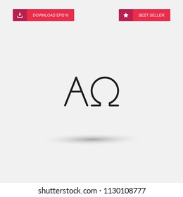 Outline Alpha And Omega Icon isolated on grey background. Modern simple flat symbol for web site design, logo, app, UI. Editable stroke. Vector illustration. Eps10