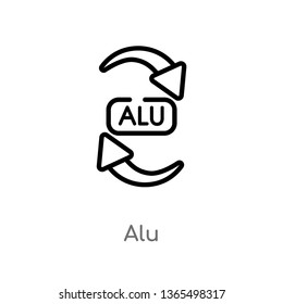 outline alu vector icon. isolated black simple line element illustration from user interface concept. editable vector stroke alu icon on white background
