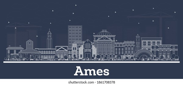 Outline Ames Iowa Skyline with White Buildings. Vector Illustration. Business Travel and Tourism Concept with Historic Architecture. Ames Cityscape with Landmarks.
