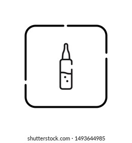 Outline ampoule vector icon. Isolated black simple line element illustration from health and medical concept. Editable vector stroke ampoule icon on white background