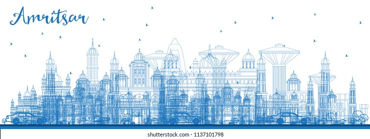 Outline Amritsar India City Skyline with Blue Buildings. Vector Illustration. Business Travel and Tourism Concept with Historic Architecture. Amritsar Cityscape with Landmarks.