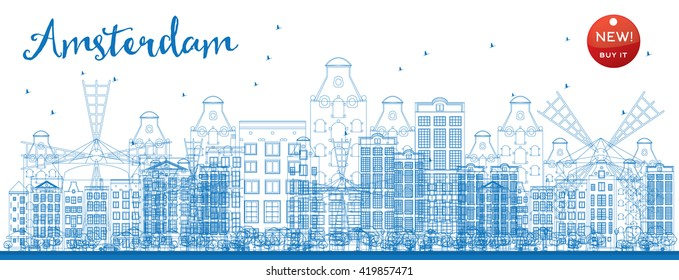 Outline Amsterdam city skyline with blue buildings. Vector illustration. Business travel and tourism concept with historic buildings. Image for presentation, banner, placard and web site.