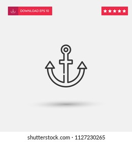 Outline Anchor Icon isolated on grey background. Modern simple flat symbol for web site design, logo, app, UI. Editable stroke. Vector illustration. Eps10