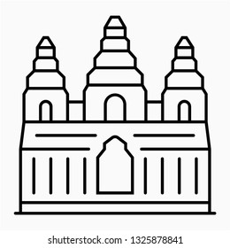 Outline Angkor wat pixel perfect vector icon