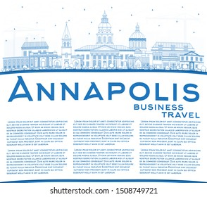 Outline Annapolis Maryland City Skyline with Blue Buildings and Copy Space. Vector Illustration. Business Travel and Tourism Concept with Historic Architecture. Annapolis USA Cityscape with Landmarks.