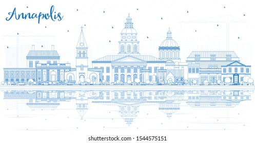 Outline Annapolis Maryland City Skyline with Blue Buildings and Reflections. Vector Illustration. Business Travel and Tourism Concept with Historic Architecture. Annapolis USA Cityscape with Landmarks