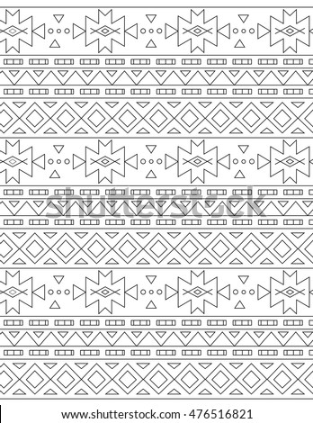 Outline Antistress Aztec Coloring Pages Adults Stock Vector Royalty