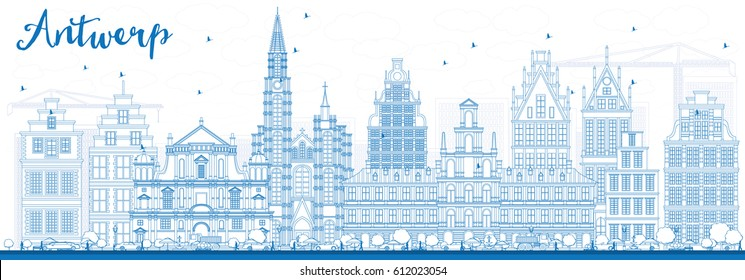 Outline Antwerp Skyline with Blue Buildings. Vector Illustration. Business Travel and Tourism Concept with Historic Architecture. Image for Presentation Banner Placard and Web Site.