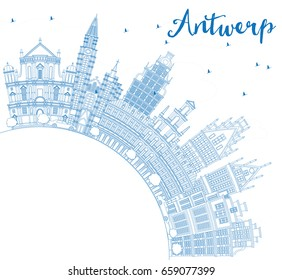 Outline Antwerp Skyline with Blue Buildings and Copy Space. Vector Illustration. Business Travel and Tourism Concept with Historic Architecture. Image for Presentation Banner Placard and Web Site.