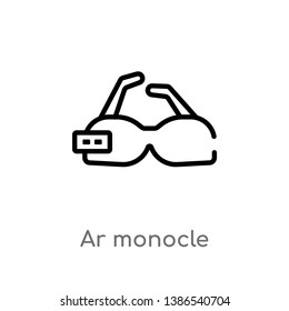 outline ar monocle vector icon. isolated black simple line element illustration from artificial intellegence concept. editable vector stroke ar monocle icon on white background