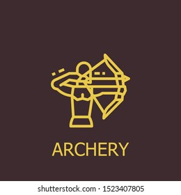 Outline archery vector icon. Archery illustration for web, mobile apps, design. Archery vector symbol.