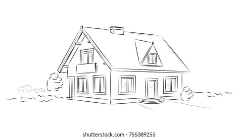Outline architectural sketch detached tarditional house - vector concept