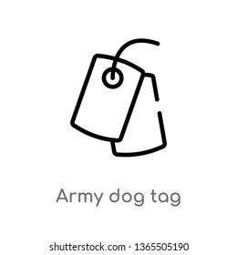 outline army dog tag vector icon. isolated black simple line element illustration from miscellaneous concept. editable vector stroke army dog tag icon on white background