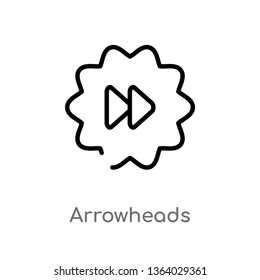 outline arrowheads vector icon. isolated black simple line element illustration from user interface concept. editable vector stroke arrowheads icon on white background