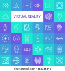 Outline Art Virtual Reality Icons Set. Vector Set Technology Modern Line Icons of Augmented Reality gadgets.