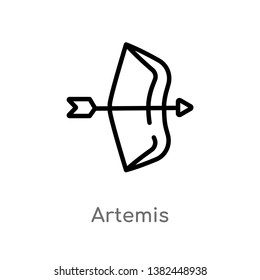 outline artemis vector icon. isolated black simple line element illustration from greece concept. editable vector stroke artemis icon on white background