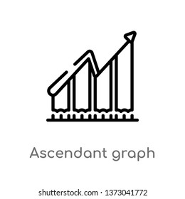outline ascendant graph vector icon. isolated black simple line element illustration from business concept. editable vector stroke ascendant graph icon on white background
