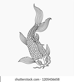outline asian carp fish, thin line vector illustration