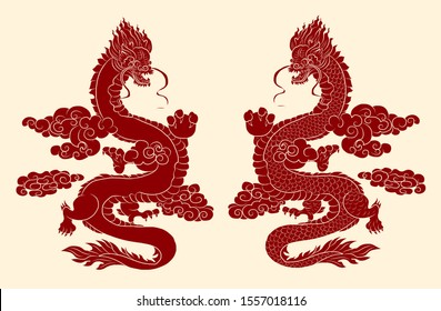 Outline Asian dragon for printing lucky wallpaper on background.Traditional Japanese dragon vector illustration for tattoo or painting on jacket,T-shirt.Chinese dragon and clouds wave for tattoo style