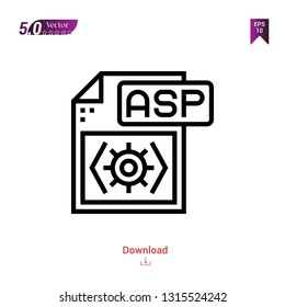 Outline asp file  icon isolated on white background. Popular icons for 2019 year. file-types. Graphic design, mobile application, logo, user interface. EPS 10 format vector