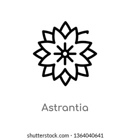 outline astrantia vector icon. isolated black simple line element illustration from nature concept. editable vector stroke astrantia icon on white background