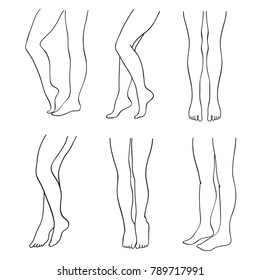 Outline attractive female legs vector set. Lady legs elegant contour, illustration of female foot