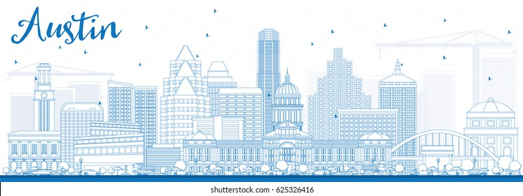 Outline Austin Skyline with Blue Buildings. Vector Illustration. Business Travel and Tourism Concept with Modern Architecture. Image for Presentation Banner Placard and Web Site.