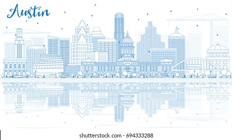 Outline Austin Skyline with Blue Buildings and Reflections. Vector Illustration. Business Travel and Tourism Concept with Modern Architecture. Image for Presentation Banner Placard and Web Site.