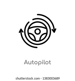 outline autopilot vector icon. isolated black simple line element illustration from general-1 concept. editable vector stroke autopilot icon on white background