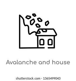 outline avalanche and house vector icon. isolated black simple line element illustration from meteorology concept. editable vector stroke avalanche and house icon on white background