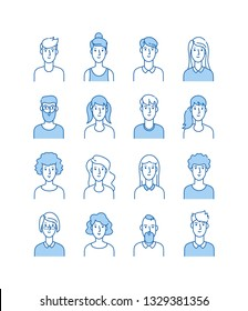 Outline avatars. Smiling young people icons user flat line man woman anonymous faces man woman cute guy web avatar profile vector set