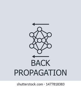 Outline back propagation vector icon. Back propagation illustration for web, mobile apps, design. Back propagation vector symbol.
